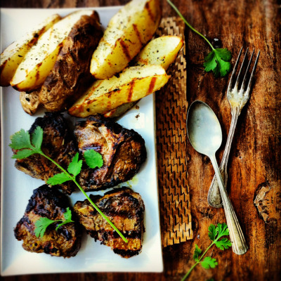 Indian Spiced Grilled Lamb Chops with Grilled Potatoes with recipe (link)