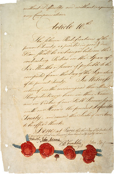 "fyeah-history:  The last page of the 1783 Treaty of ParisThe Treaty of Paris, signed on September 3, 1783, ended the American Revolutionary War between Great Britain on one side and the United States of America and its allies on the other. The other combatant nations, France, Spain and the Dutch Republic had separate agreements; for details of these, and the negotiations which produced all four treaties, see Peace of Paris (1783). It is most famous for being ""exceedingly generous"" to the United States in terms of enlarged boundaries."