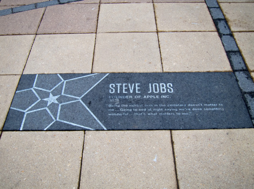 "laughingsquid:  Steve Jobs plaque at MIT  ""Being the richest man in the cemetery doesn't matter to me… Going to bed at night saying we've done something wonderful… that's what matters to me."""