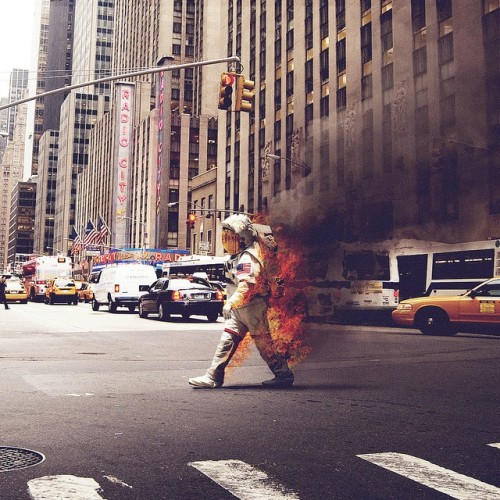Flaming astronaut.