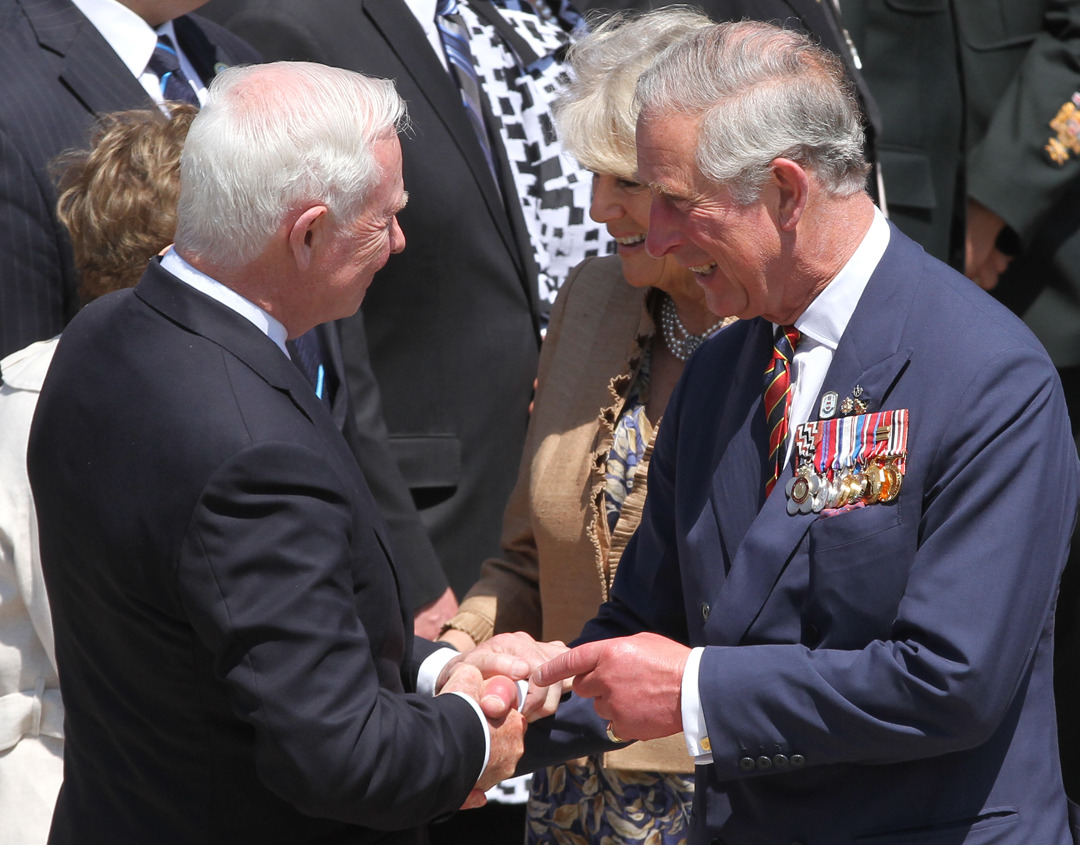 Prince Charles, Prince of Wales, and his spouse, Camilla, Duchess of Cornwall, say their goodbyes to the Right Honourable David Johnston, Governor General of Canada, and his wife Sharon Johnston, at CFB Gagetown on Monday morning, following an official welcoming ceremony and reception. (Cole Burston/The Daily Gleaner)