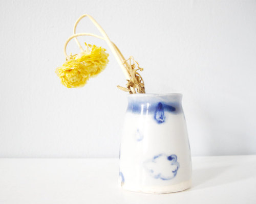 handmade ceramic vase decorated with sweet clouds and rain drops  thecupcakekid.etsy.com