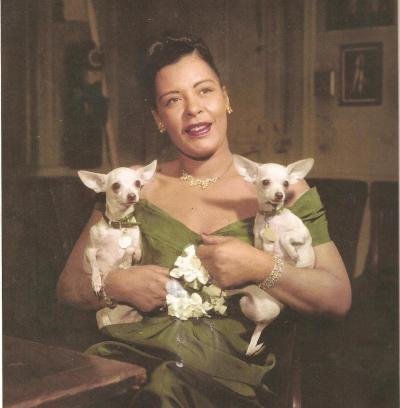 A rare picture of Lady with her two Chihuahuas Chaquita and Pepe around late 1940's early 1950's.