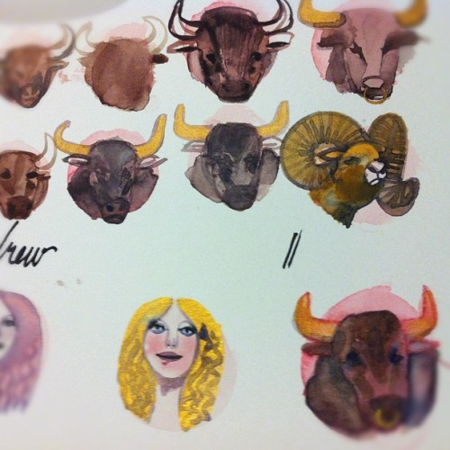 Bulls and virgins #illustration #astrology #taurus #virgo (Taken with instagram)