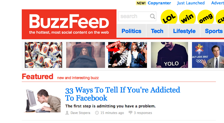 Where you really notice the difference is in how well BuzzFeed does at the mobile experience of the site. I can't think of a better mobile news app right now. BuzzFeed completely understands the importance of social media from the perspective of gaining and generating traffic. BuzzFeed makes it so easy to share its content with others in a humorous and fun way. It also tailors its content to be optimized for a mobile site.  From What Buzzfeed Can Teach Facebook.
