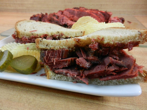 Candied corned beef on rye.