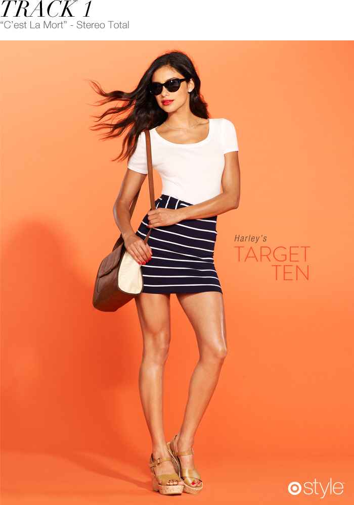 Harley's Target 10: Track 1 own it now: nautical skirt (shop in store). cateye sunnies. white tee. bag. wedges.