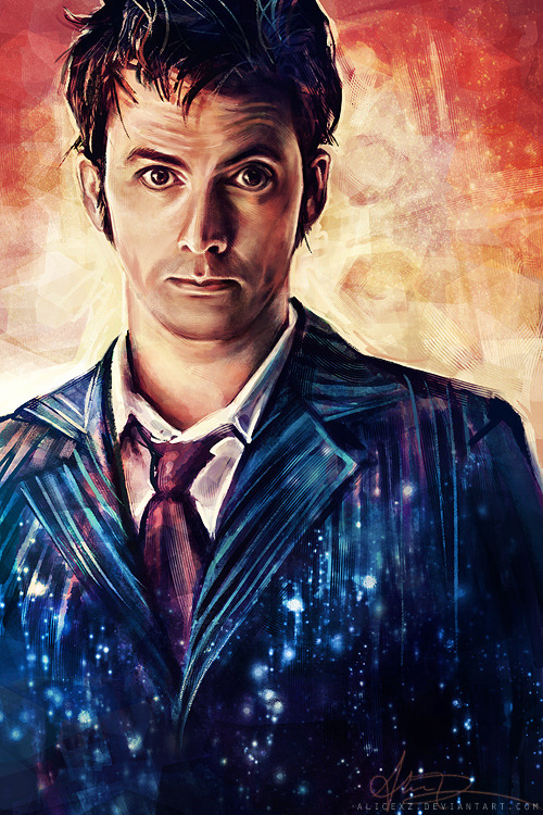 alicexz:  Another Doctor Who commissioned piece, this time of Ten. I did this over Livestream awhile back and never posted it!