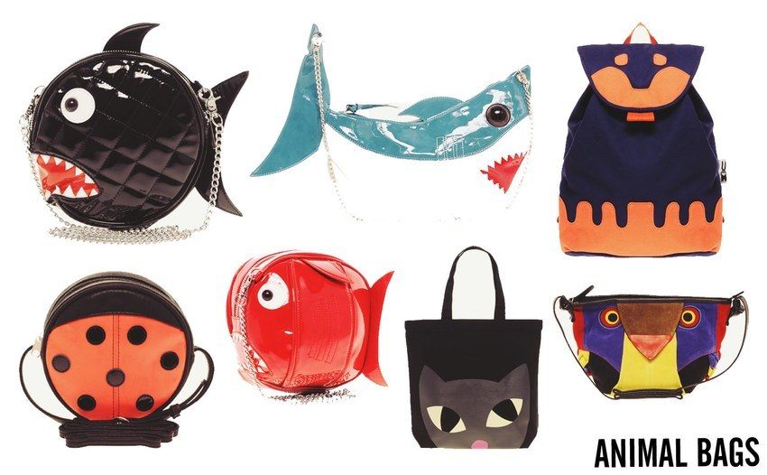 Animal bags (L-R, T-B):  The Rodnik Band Quilted Snappy Fish Bag // The Rodnik Band Shark Bag // Peter Jensen Rabbit Backpack // ASOS Ladybird Across Body Bag //  The Rodnik Band Snappy Fish Bag // Lulu Guinness Lily Cat Shopper//ASOS Suede Owl Across Body Bag Sourced from K is for Kani.