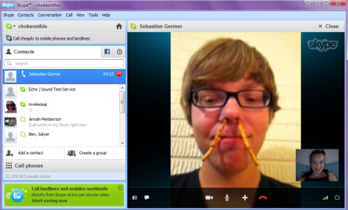 april 24, 2012. skype date. sebastian put pretzels in his nose. (: