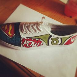 marvel/DC shoes, done with acrylic paint :) I may or may not have made these right after seeing the avengers… If you like these and want anything similar please feel free to email me:)