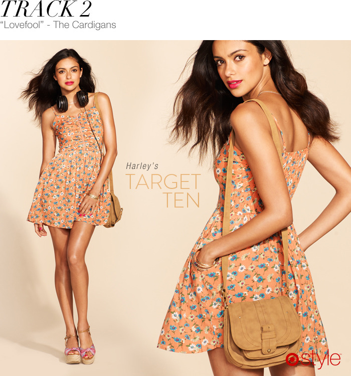 Harley's Target 10: Track 2 own it now: orange sundress. print wedges. headphones. crossbody (shop in store).