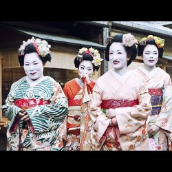 Girls dressed as Maiko Henshin in Kyoto, Japan. #japan #kyoto #geisha #geishas #maiko #urban #photography #streetphotography #asia #japanese #group #portrait #people #traditional  (Taken with instagram)