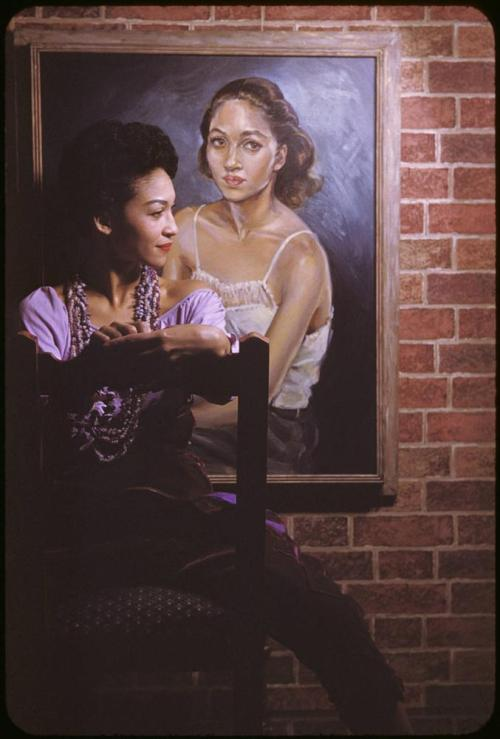 "vintageblackglamour:  The artist, Ladybird Cleveland, photographed by Carl Van Vechten on Sept. 21, 1954 with her painting, ""Self Portrait."" Ladybird is also the mother of legendary fashion model Pat Cleveland.  Photo: Beinecke Rare Book and Manuscript Library"