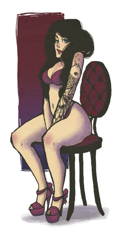 I did a clothed version of my tattooed girl so that I can sell prints of her at ape con etc.