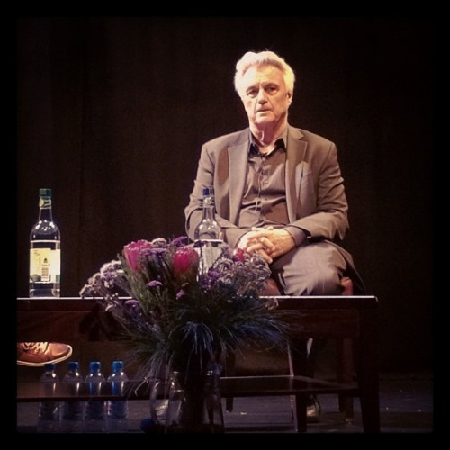 John Irving in London, about 3m away from me, at last night's Shaw Theatre talk in London. I know I go on about this, but he's been my favourite living novelist for years, and it was amazing to be in his presence.  This is a typical expression - thoughtful, deep, somewhat intimidating. But when you least expect it, this stern mask breaks into an uproarious bear of a laugh, the laugh of a man who can see comedy in tragedy (and vice-versa).