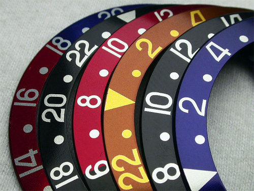 Nicely Laid Out #Rolex Bezel Color Options For The Classic #GMT - #Fly hauteeyecandy:  gmt bezels