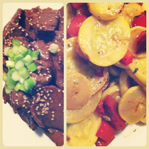 Marinated beef & summer squash for summer dinner #homemade  (Taken with instagram)