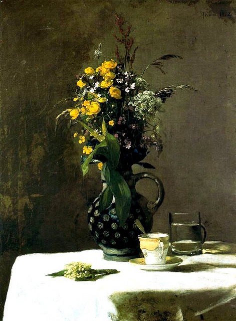 blastedheath: 1872 Hans Thoma (German, 1839-1924) ~ Porcelain Cup with Wildflowers; oil on canvas; Nationalgalerie, Berlin, Germany; RasMarley on Flickr
