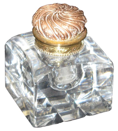 1820.  Crystal inkwell with brass cap. England.