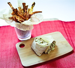 Chickenless Salad Wrap and Spicy Sweet Potato Fries     (click image for recipe)