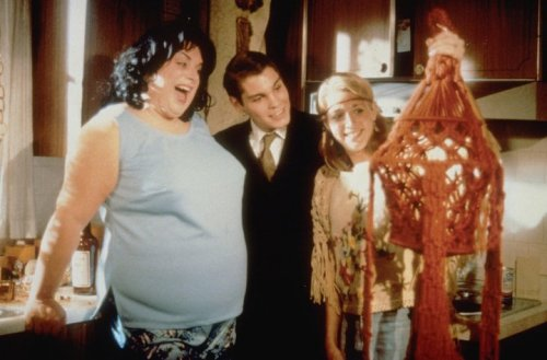 Divine (as Francine Fishpaw), Ken King (as Dexter Fishpaw) and Mary Garlington (as Lu-Lu Fishpaw) from John Waters' Polyester, 1981