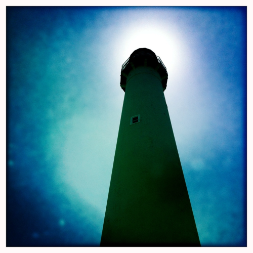 Cape May lighthouse NJ. Beautiful today at the shore with J&J.  Even saw tons of dolphins right off the beach!  If the surf wasn't so rough at the lighthouse we could have been swimming with them!