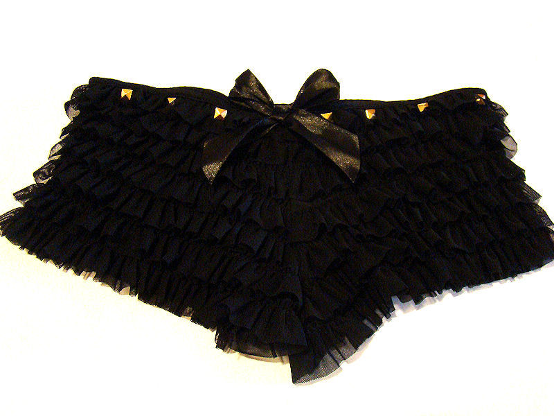 black ruffle panties with gold studs on our etsy <3 https://www.etsy.com/listing/100941222/black-ruffle-panties-gold-studs-bow