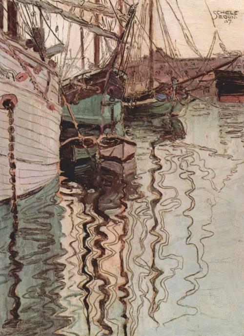 artandliving:  Egon Schiele Harbor of Trieste  1907