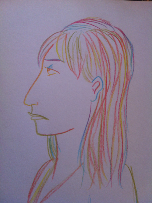 "Drawn with a single ""crazy colored pencil"" from Target. Sometimes children's art supplies are the best art supplies."