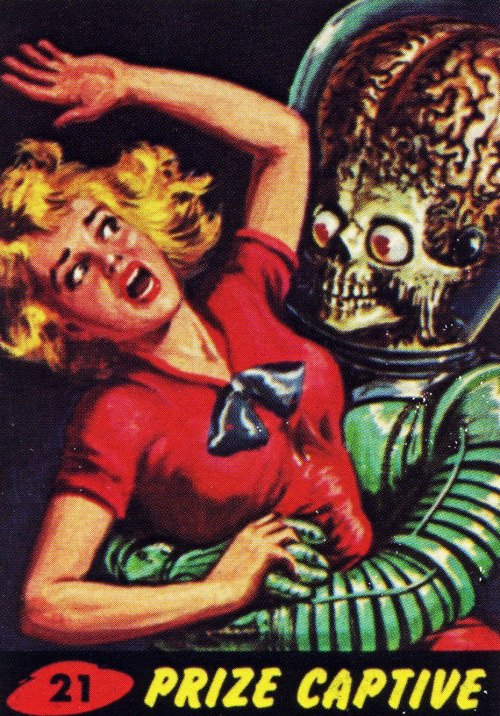 Topps Mars Attacks cards, illustrations by  by Norman Saunders & Bob Powell, 1962