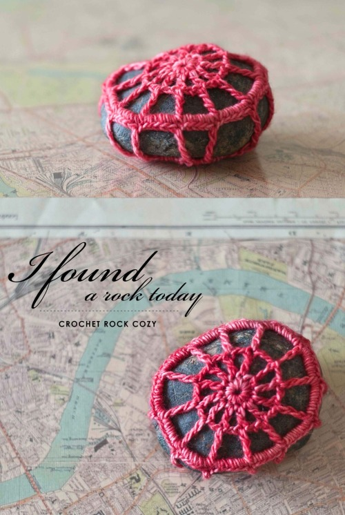 {made} — crochet rock cozy. On a walk I found this fun rock and crocheted up a hot pink cozy for it. Personal pattern; created it as I went.