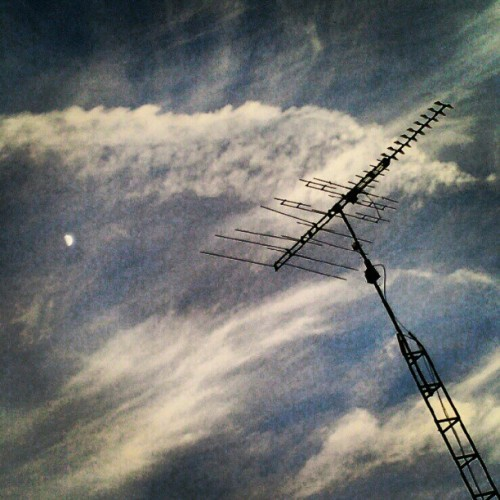 #sky #clouds #moon #antenna  (Taken with instagram)
