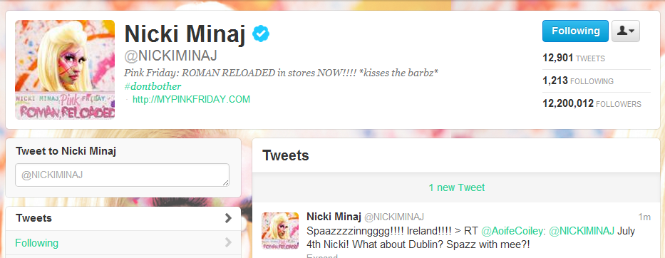 can't believe Nicki Minaj tweeted me for the 5th time tonight!! :D