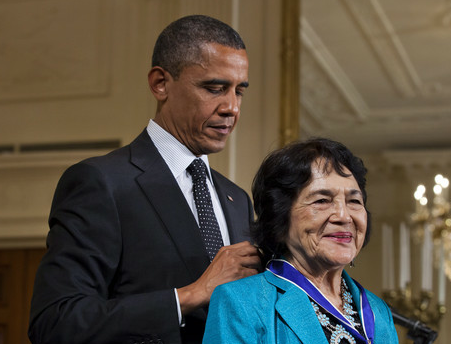 "fuckyeahlatinamericanhistory:  United Farm Workers co-founder Dolores Huerta received the Presidential Medal of Freedom from President Barack Obama today. Said the president, ""Dolores was very gracious when I told her I had stolen her slogan, Si, se puede. Yes, we can. Knowing her, I'm pleased that she let me off easy— because Dolores does not play."""