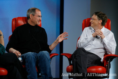 "#1: Bill Gates and Steve Jobs Unite On Stage[Top 10 Moments From A Decade of All Things Digital]Well folks, we've reached our No. 1 highlight in our countdown of 10 years of the D: All Things Digital conference. It's been fun — and there have been some great moments — some interesting, some funny, many both. But this top moment was a no-brainer — easily the highlight of the D5 conference and, for that matter, of any conference since. The legendary Steve Jobs and Bill Gates, sharing the main stage, for an historic conversation about the tech landscape. Watch the interview in its entirety here.  And, in a perfect and poignant moment, Jobs used The Beatles to help him describe the relationship between himself and his fellow tech Titan: ""You and I have memories longer than the road that stretches out ahead.""  Here's to another 10 years, as great — or greater than — the first."