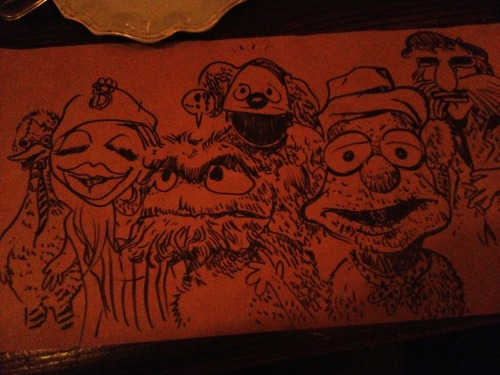 MUPPETS  With Kostas Seremetis waiting on dinner. He challenged me to draw Fozzie Bear.
