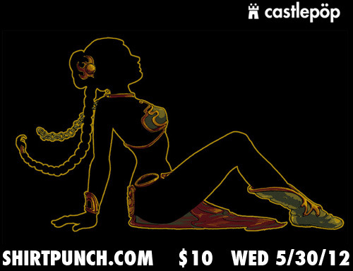"A special Gold Edition of our ""Slave Leia Mudflap"" is on www.ShirtPunch.com for one day only: Wed. May 30th! And this time she's wrapped in shiny gold metallic ink!"