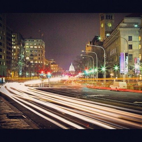 Snapped this guy with a 30-second shutter looking down Pennsylvania Ave. #washingtondc #canon5d (Taken with instagram)