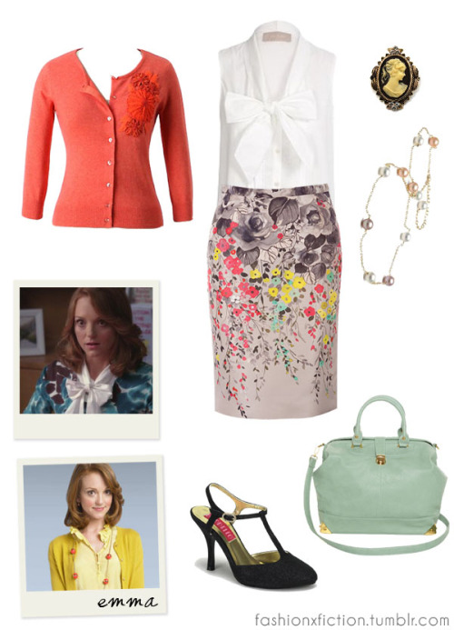 Fashion inspired by Emma Pillsbury from Glee. A high-school Spanish teacher becomes the director of the school's Glee club, hoping to restore it to its former glory. Emma is a guidance counselor at William McKinley High School in Lima, Ohio. She suffers from mysophobia—an obsessive fear of germs and contamination—and has romantic feelings for glee club director Will Schuester. http://www.imdb.com/title/tt1327801/