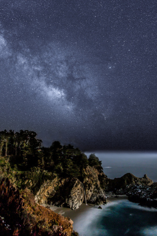 "expose-the-light:  Majestic Milky Way Credit: Phil McGrew The Milky Way shines over McWay Falls south of Big Sur, Calif. Photographer Phil McGrew pulled an ""all-nighter"" to get this shot."