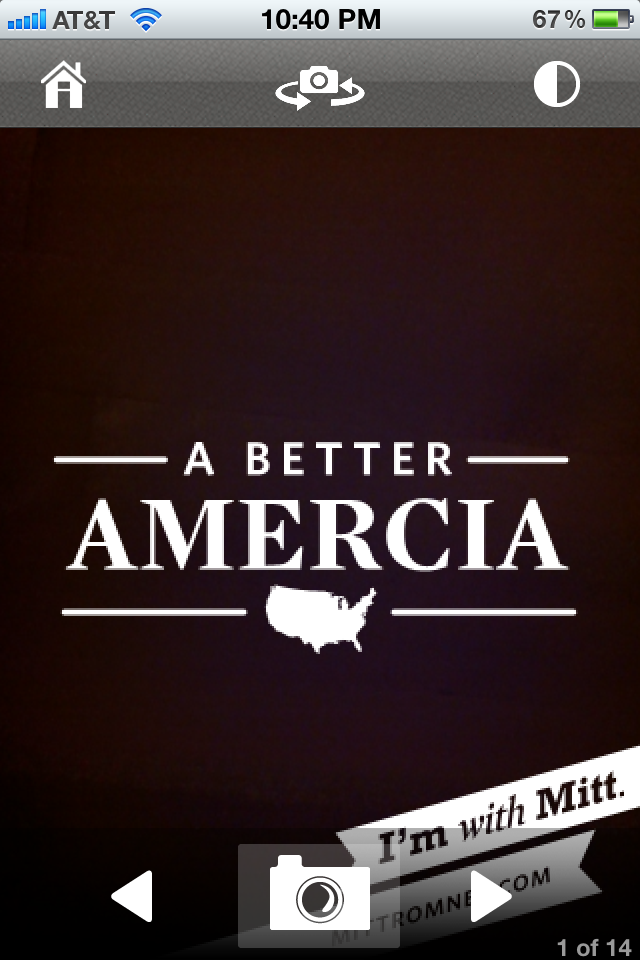 And sure enough, against all odds, Mitt Romney's awesome new iPhone app has misspelled America on it's front page.