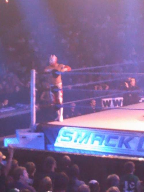 wwemedia:  Sin Cara sporting a new red and white attire (low quality image)