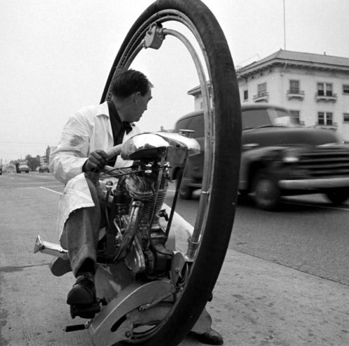 Monowheel driver, 1952 photo by Loomis Dean thanks for the correction complex34