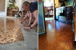 wifeinkorea:  Copper Pennies + Clear Risen = Beautiful Floor If you want to try this: Save this picture and go to your local Big Box Home Improvement store and ask them what type of Clear Resin would work the best and what kind of under-lament would be needed. In this picture they had a concrete floor to work with. Yes, it would be cheaper than the average floor, if you did the work yourself. The price, including the cost of the pennies would probably range from $2.50 to $3.50 a square foot.
