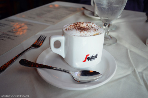 A cappuccino to go with the awaiting dessert at Claudio & Mattia's Trattoria Piano Bar.