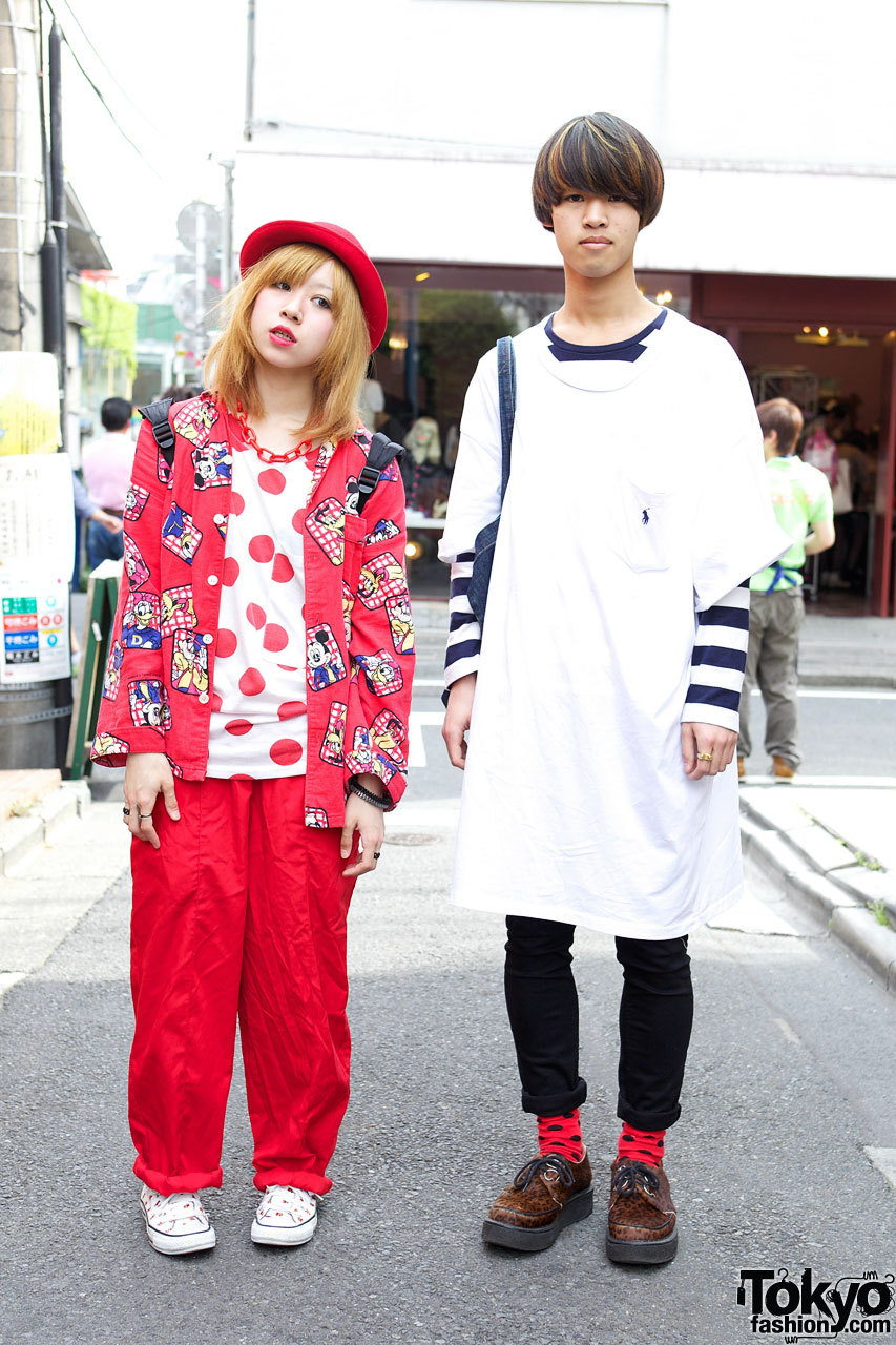 Bunka Fashion College students Aki & Kento on the street in Harajuku w/ Disney, Mario Bros & leopard creepers.
