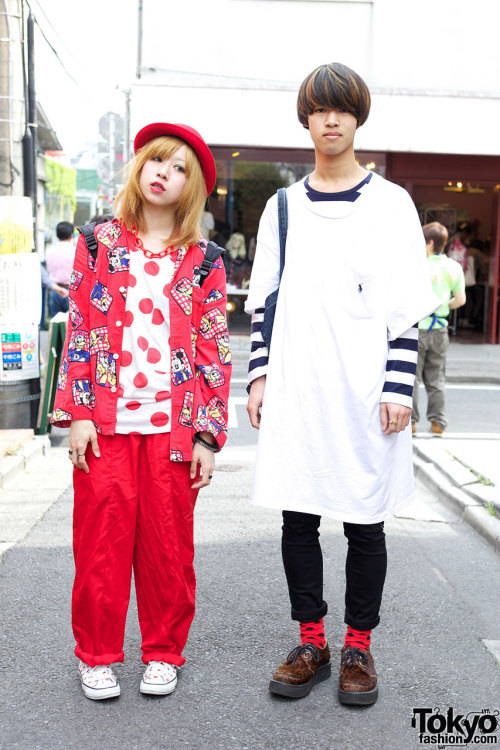 tokyo-fashion:  Bunka Fashion College students Aki & Kento on the street in Harajuku w/ Disney, Mario Bros & leopard creepers.