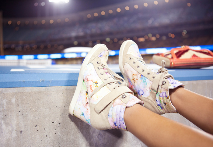 maybelline:   We're loving these floral wedge sneakers from TopShop.