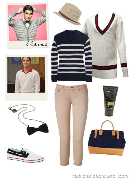 Fashion inspired by Blaine Anderson from Glee. A high-school Spanish teacher becomes the director of the school's Glee club, hoping to restore it to its former glory. Blaine is the former lead member of the Dalton Academy Warblers (where he transferred to due to heavy bullying), who later transferred to William McKinley High School to be with his boyfriend, Kurt Hummel. Blaine is openly gay and is currently in a loving relationship with Kurt Hummel. http://www.imdb.com/title/tt1327801/